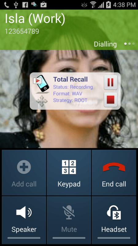 Запись при звонке в TotaL RecalL CR