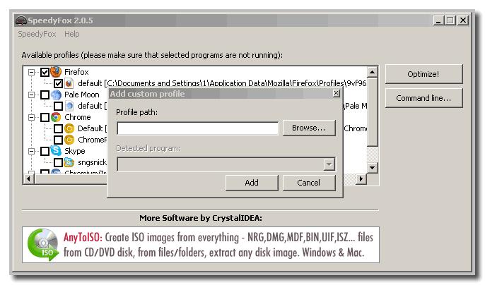 Путь к браузеру в speedyfox