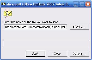 Выбор файла для проверки scanpst
