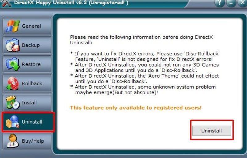 Вкладка «Uninstall» в программе DirectX Happy Uninstall